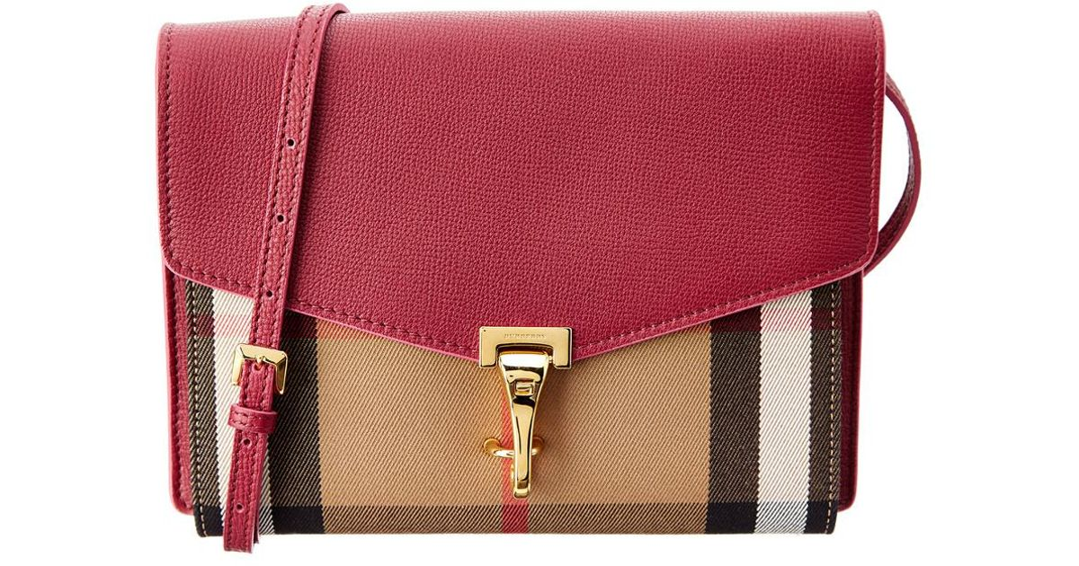 fbc440068a78 Burberry Small Leather   House Check Crossbody in Pink - Lyst