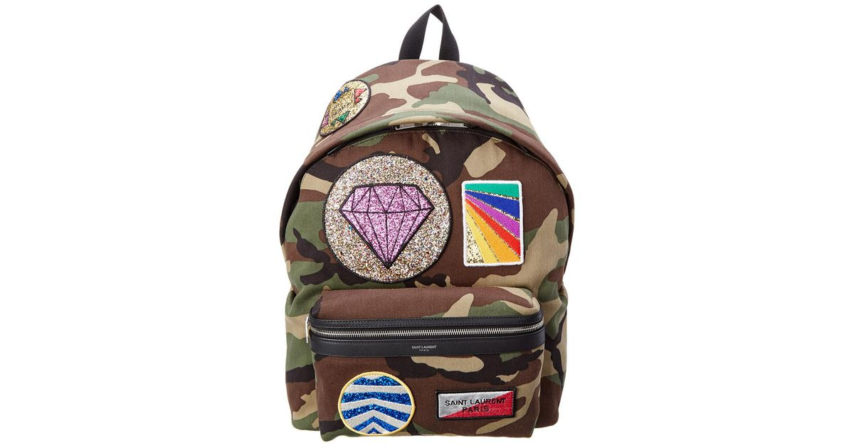 404d894b0 Saint Laurent Classic City California Camouflage Patches Canvas & Leather  Backpack for Men - Lyst