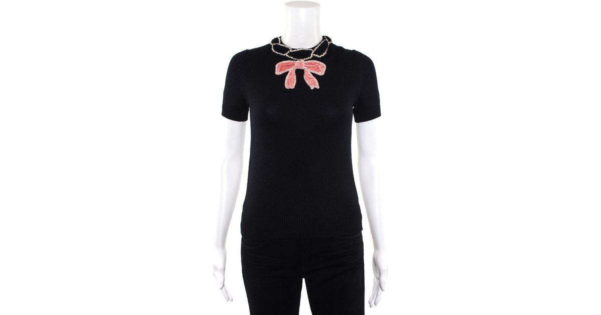 ab36dda4d47 Gucci Black & Pink Wool Crystal Velvet Bow Sweater (size Extra Small) in  Black - Lyst