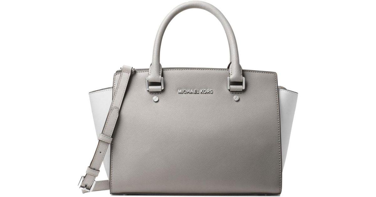 7854324a1846b3 MICHAEL Michael Kors Selma Medium Color-block Leather Satchel in Gray - Lyst