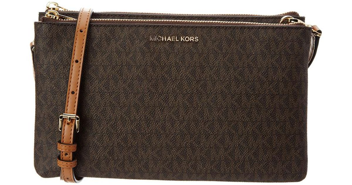 bedfd258f18f MICHAEL Michael Kors Adele Signature Double Gusset Leather Crossbody in  Brown - Lyst