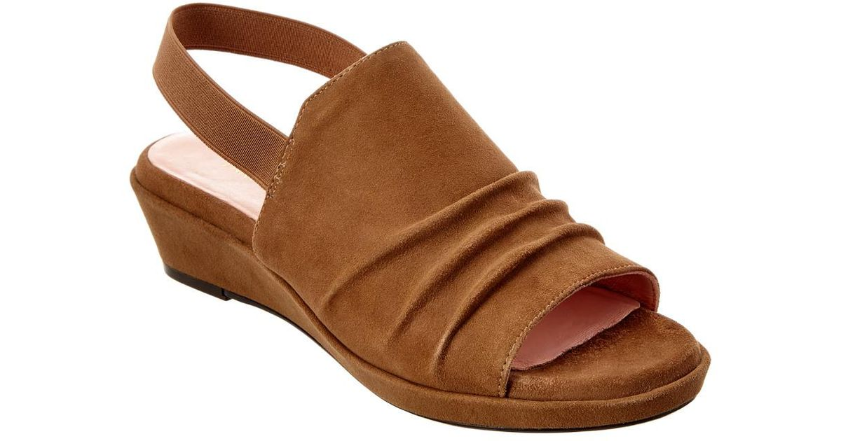 6649d1603e5 Lyst - Taryn Rose Tiva Suede Wedge Sandal in Brown
