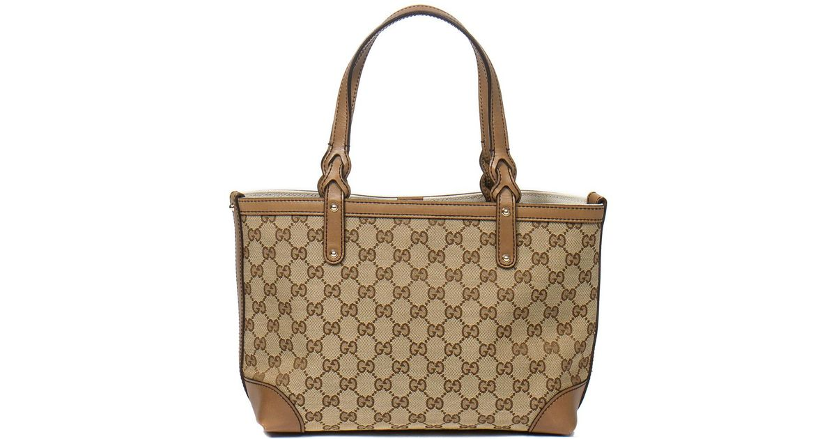 3c56283d614 Lyst - Gucci Beige Gg Supreme Canvas   Leather Craft Pm in Natural