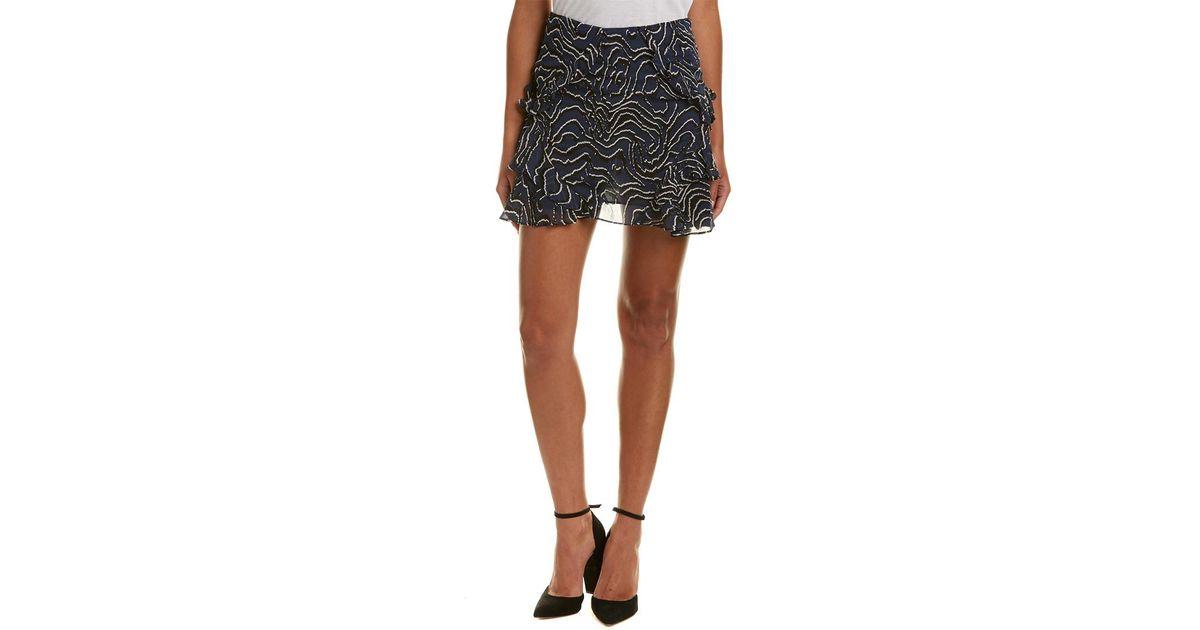 659e2209ea 10 Crosby Derek Lam Ruffled Silk Mini Skirt in Blue - Lyst
