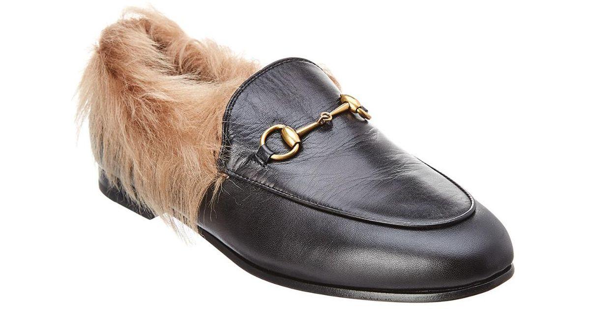 7b88ebaa7b8 Lyst - Gucci Jordaan Wool   Leather Loafer in Black
