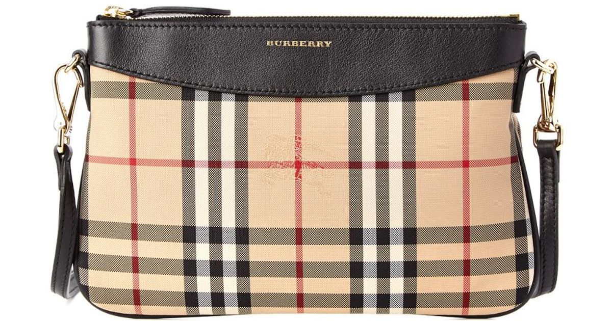 c8f650e506ea Lyst - Burberry Peyton Horseferry Check   Leather Clutch Bag in Black