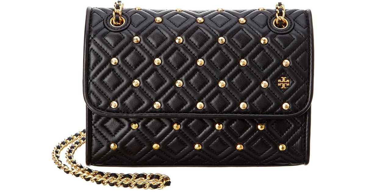 0def3ef3f81e Lyst - Tory Burch Fleming Stud Small Leather Shoulder Bag in Black