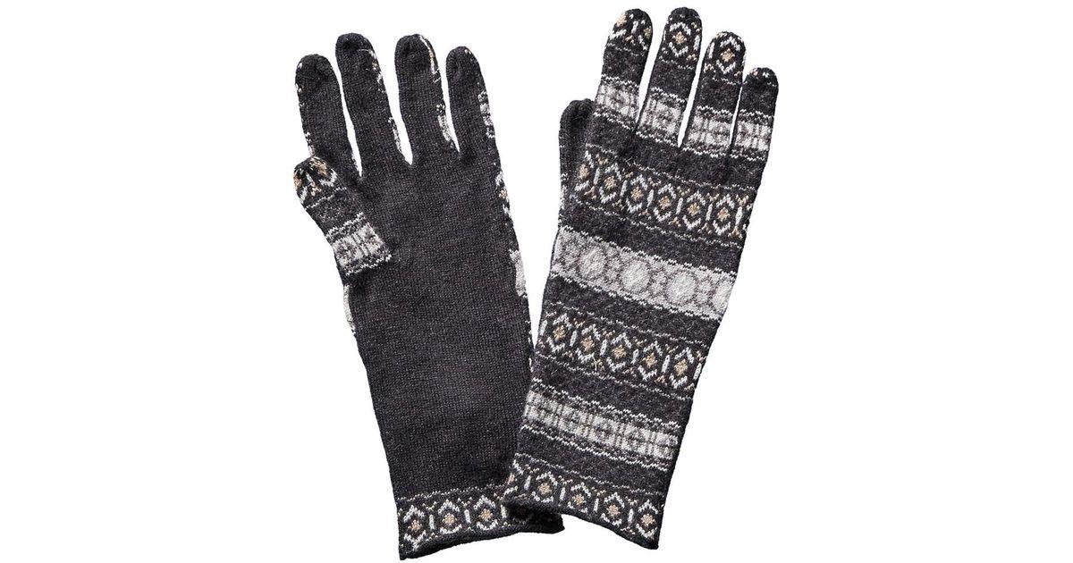Quinn Fairisle Gloves With Fringe in Black | Lyst