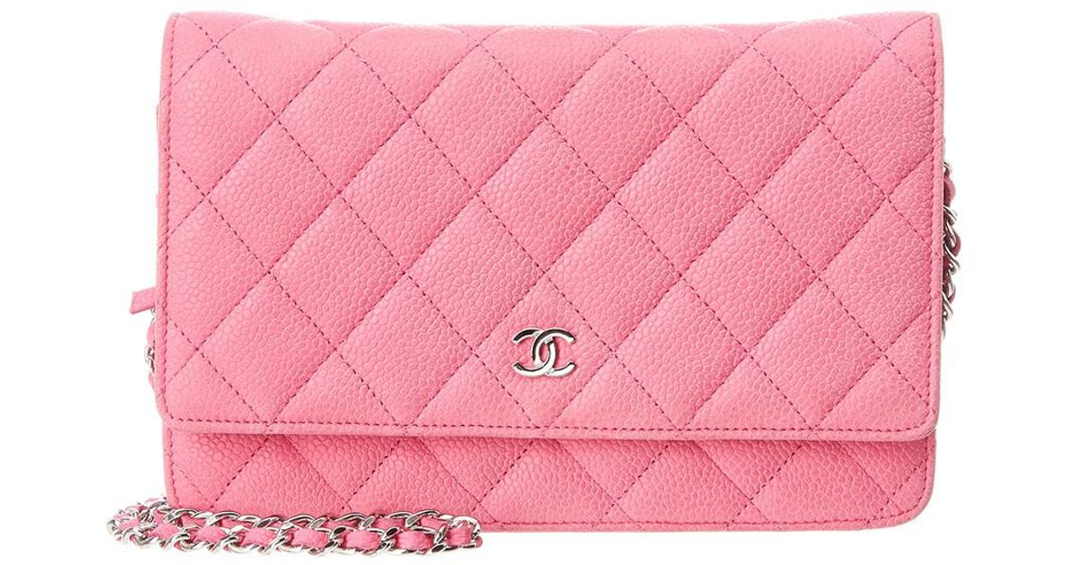 eb22d10ce8c7 Lyst - Chanel Pink Quilted Soft Caviar Leather Wallet On Chain in Pink