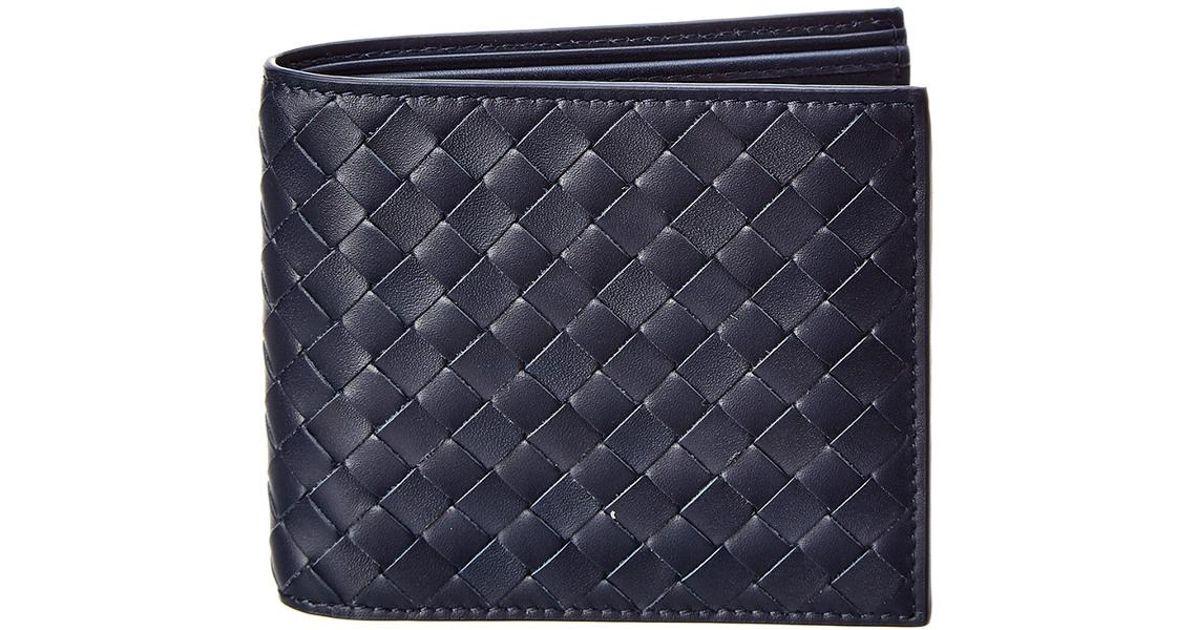 5c5ec6341d Bottega Veneta - Blue Intrecciato Leather Bifold Wallet for Men - Lyst