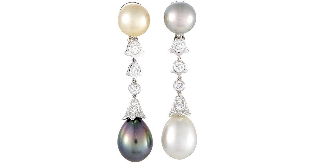 Lyst Cartier Platinum Pearl Drop Earrings Save 2 0360814432577286