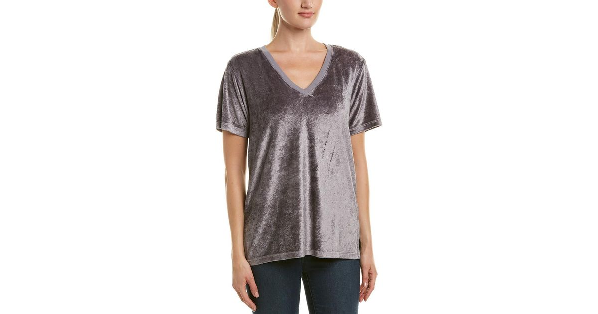 Lyst Michael Stars Velour T Shirt In Gray Save 30769230769230774