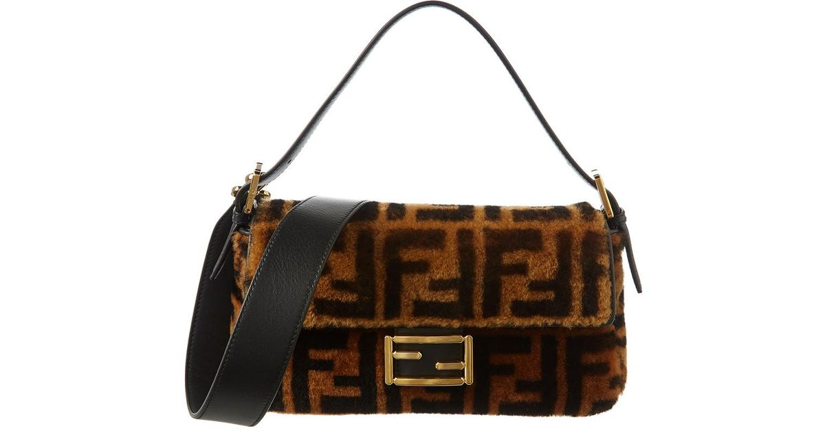 Lyst - Fendi Ff Shearling   Leather Baguette Shoulder Bag in Brown 826e3d8c5408a