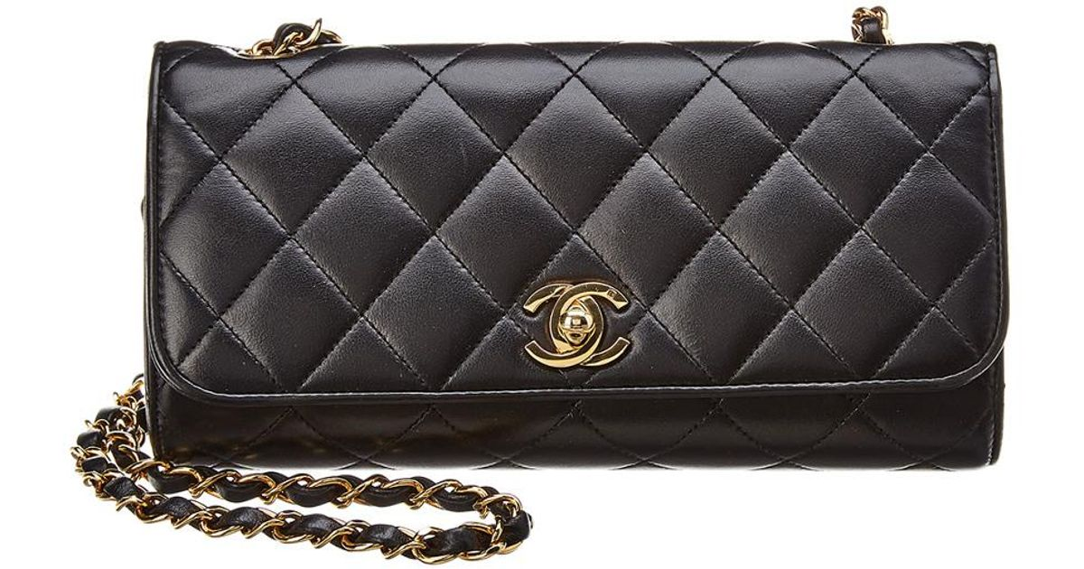 4b4afcf9c82c Lyst - Chanel Black Quilted Lambskin Leather Barrel Bag in Black