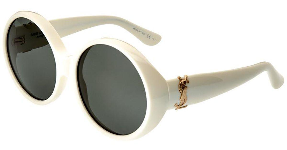 6ec8be1fe30a Saint Laurent Women s Slm1-30000824004 60mm Sunglasses in White - Lyst