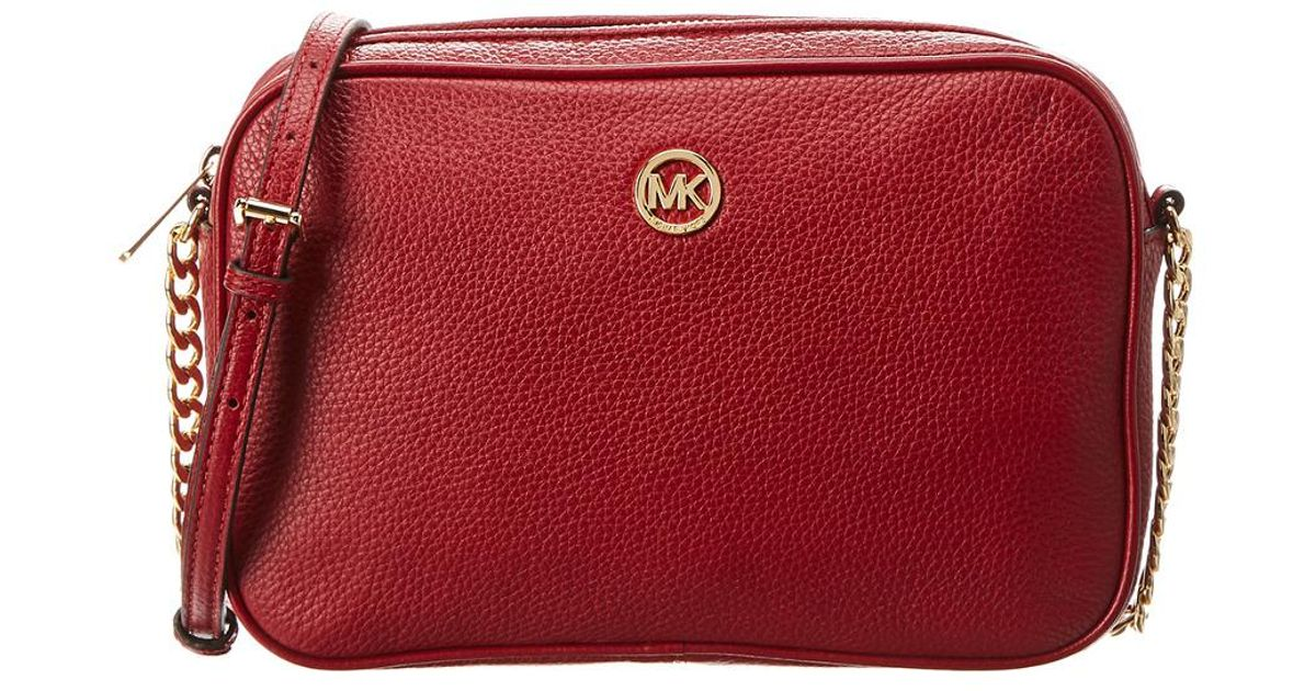 f9dcb3a2f082c3 MICHAEL Michael Kors Michael Kors Fulton Large East West Leather Crossbody  in Red - Lyst