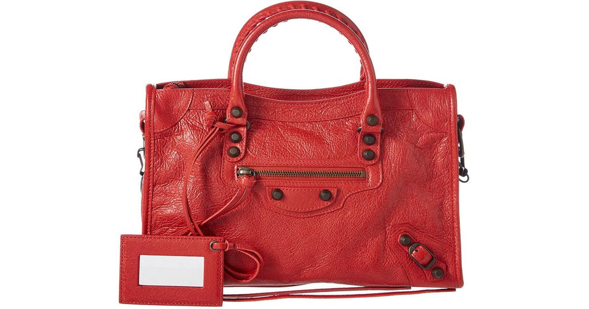 Lyst - Balenciaga Classic Silver City Small Leather Shoulder Bag in Red 17cc369a0ca97
