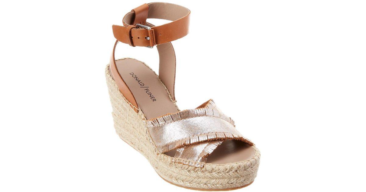 1c114d159 Lyst - Donald J Pliner Ines Leather Wedge Sandal in Brown