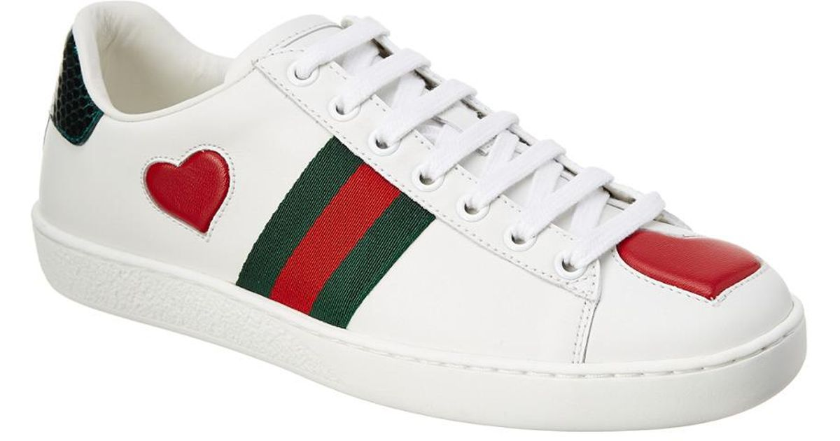 44bfa6b6d58 Lyst - Gucci Ace Embroidered Heart Leather Lace-up Sneaker in White