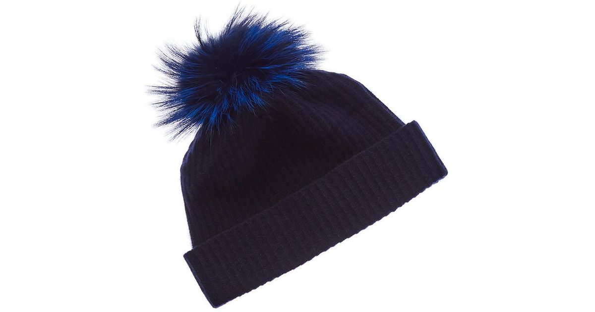 524411f200aaf Lyst - Portolano Cashmere Hat With Fox Pom in Blue