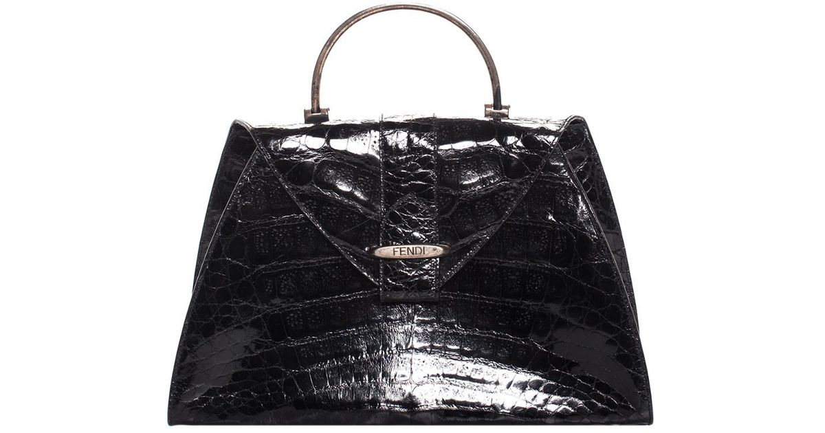 d95cb9cd89 Fendi Black Crocodile Leather Structured Top Handle Bag in Black - Lyst