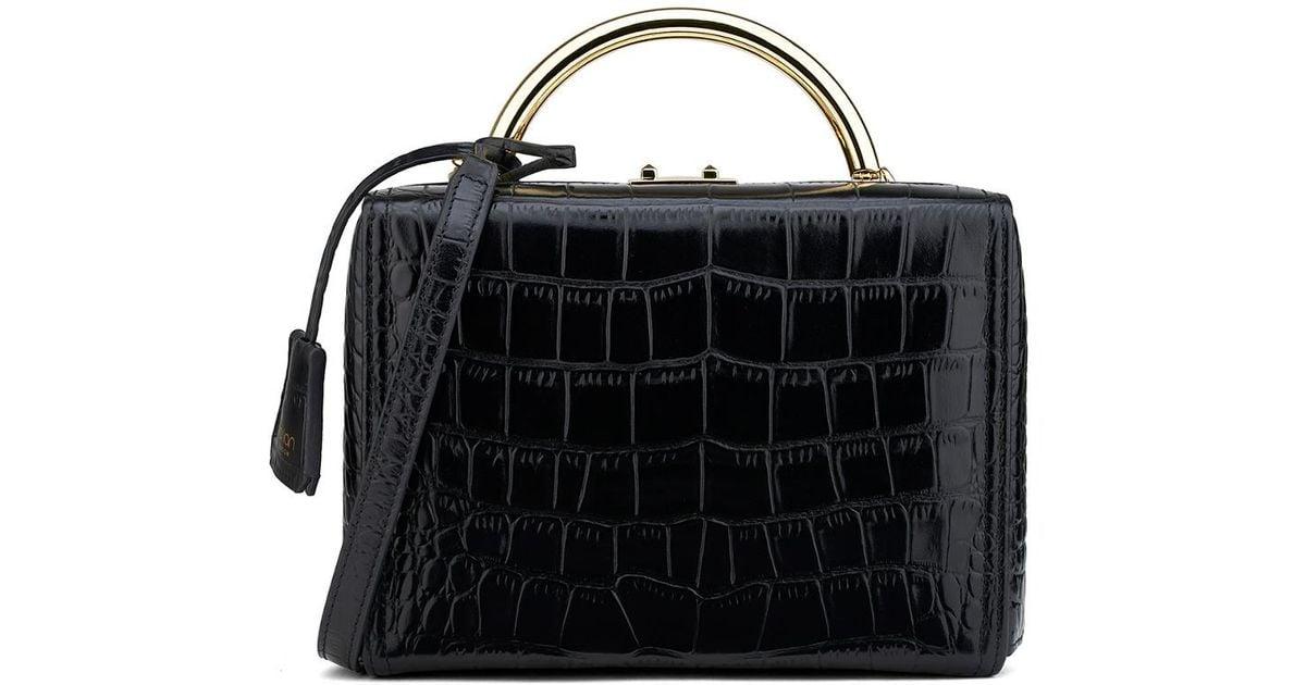 613eefc336 Lyst - Florian London Medium Croc-embossed Leather Box Bag in Black