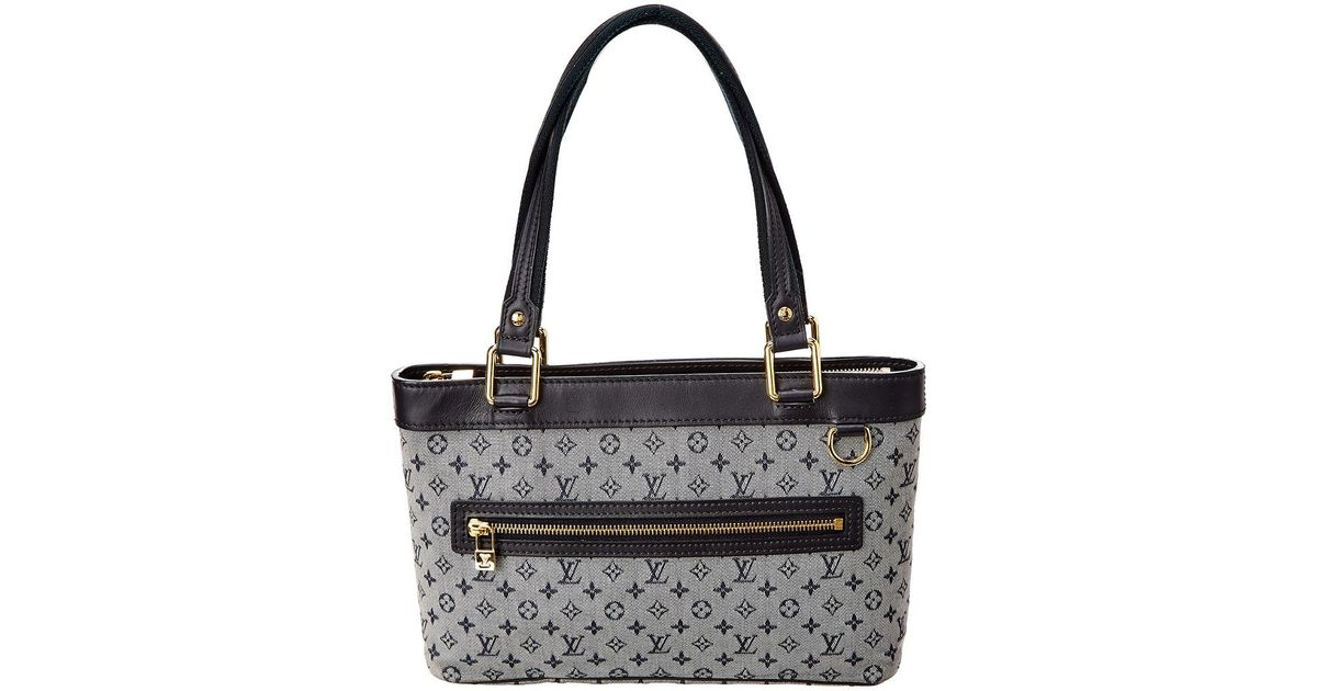27b6d3e02da4 Lyst - Louis Vuitton Navy Monogram Mini Lin Canvas Lucille Pm
