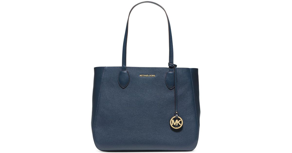 c3e74599865a Lyst - Michael Kors Michael Mae Soft Leather Reversible Carryall Tote in  Blue