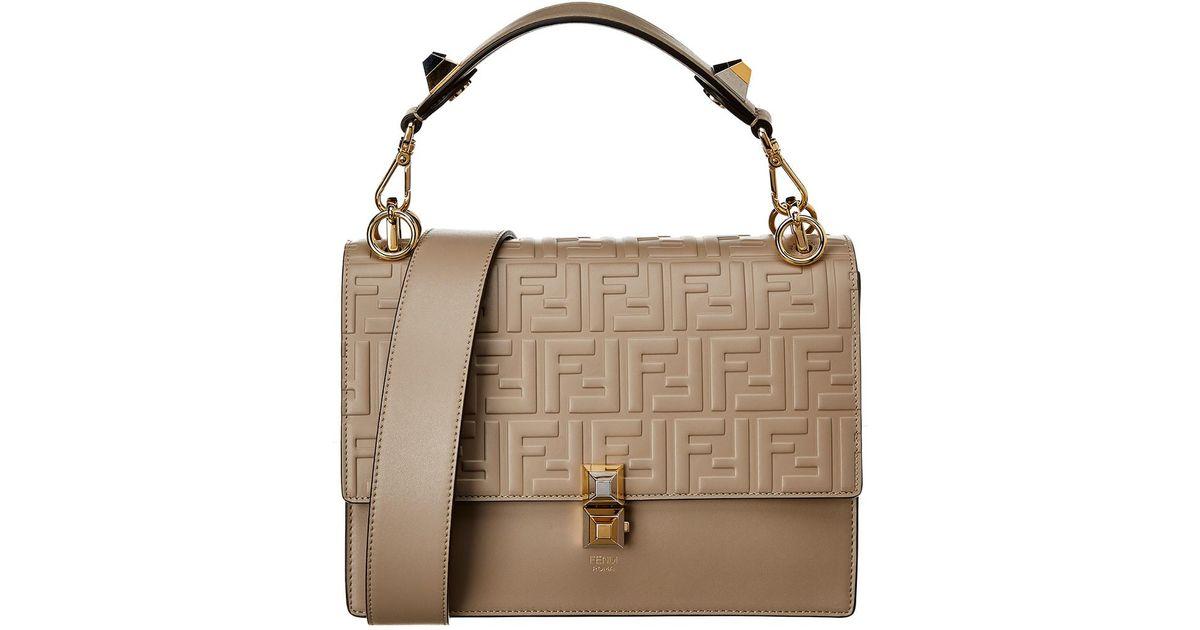 Lyst - Fendi Kan I Ff Embossed Leather Satchel in Brown 531a48de22