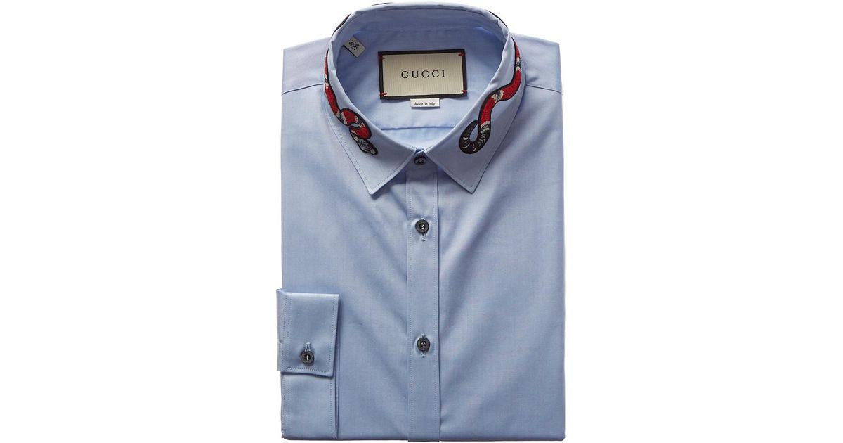0ea6a99fb Gucci Oxford Duke Kingsnake Dress Shirt in Blue for Men - Lyst