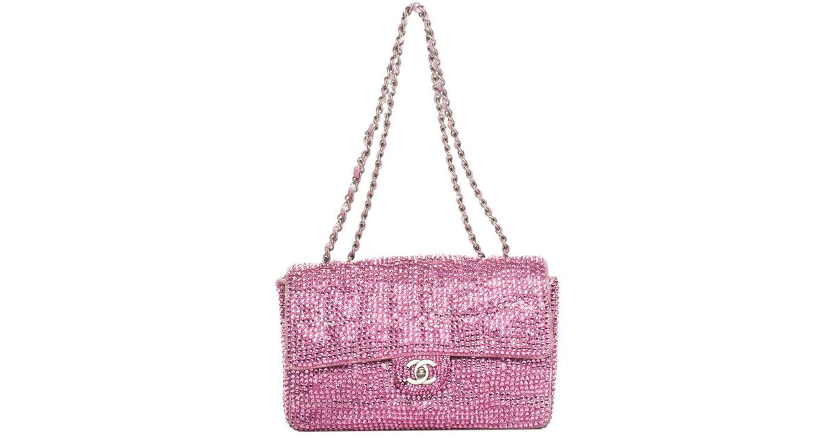 96e302e846a2 Lyst - Chanel Pink Sequin Strass   Leather Small Single Flap Bag in Pink