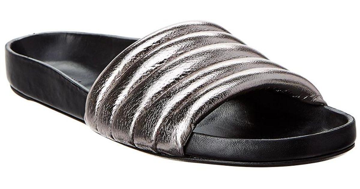 e63ef7097eff Lyst - Isabel Marant Hellea Quilted One-band Leather Slide Sandal in Black