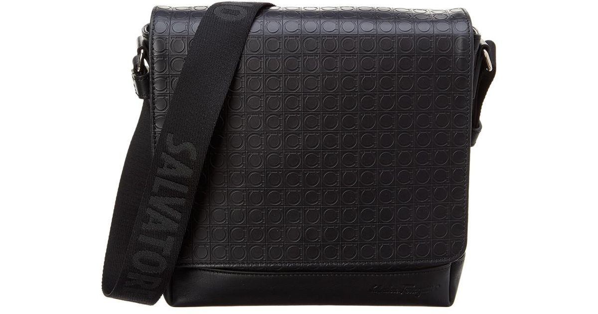 Lyst - Ferragamo Gancio Embossed Leather Messenger Bag in Black for Men 7c6590b0b0