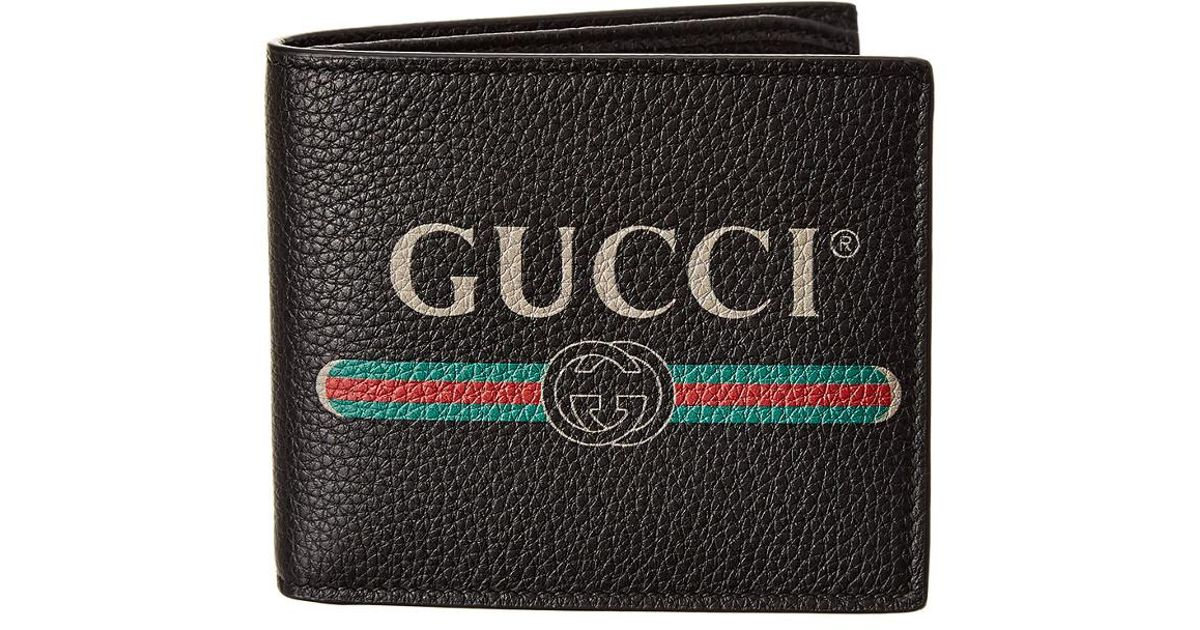 be4d9c6581c Lyst - Gucci Logo Print Leather Bifold Wallet in Black for Men