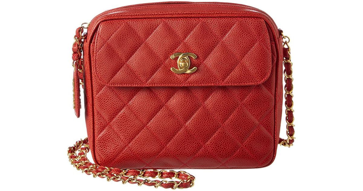 e3e0f28345f1fd Chanel Red Quilted Caviar Leather Medium Pocket Camera Bag in Red - Lyst