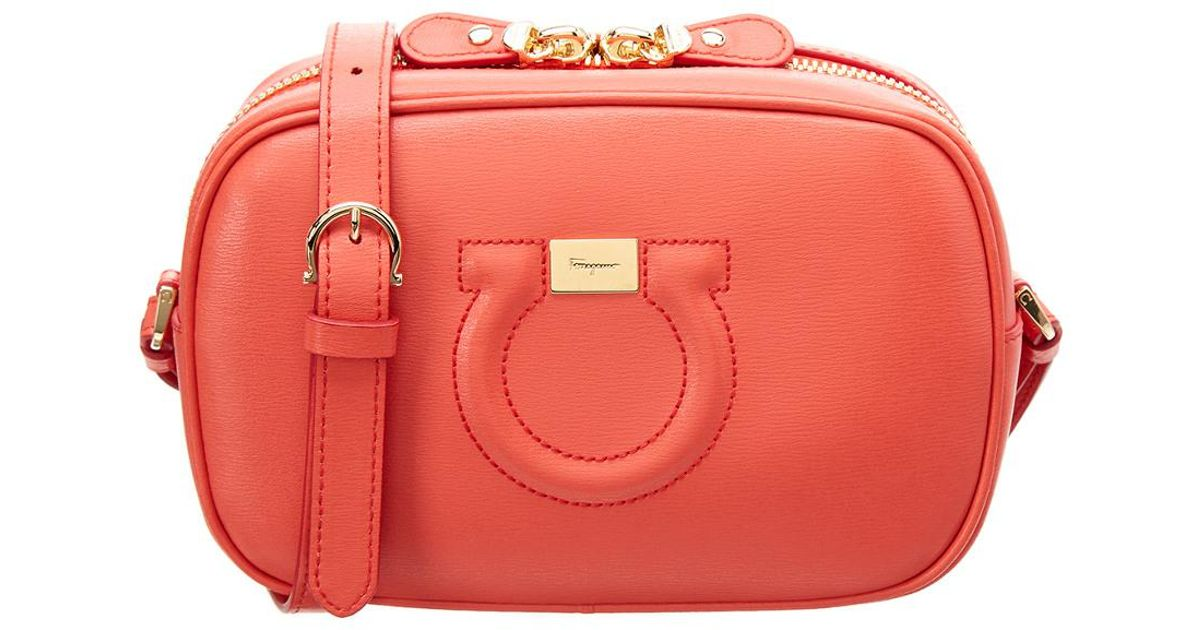 b9e4462266 Lyst - Ferragamo Gancini Leather Camera Bag in Orange
