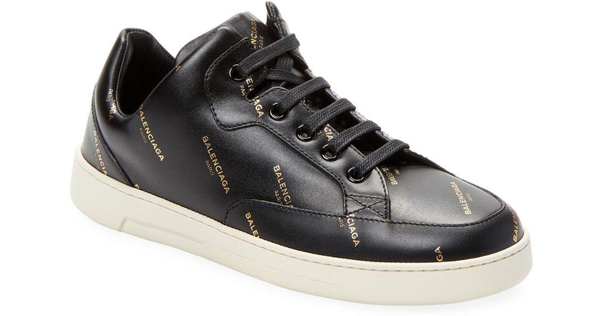 Lyst - Balenciaga All Over Logo Base Sneaker in Black - Save 20% 8dd031b25c9a