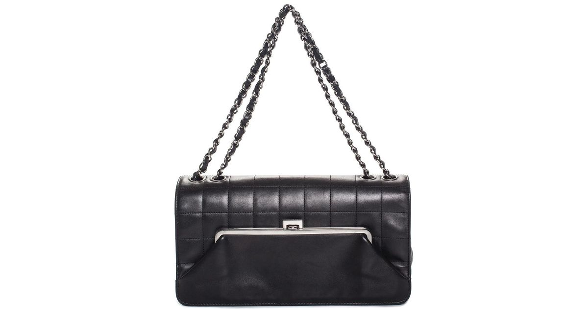 cc9406604a40 Lyst - Chanel Black Quilted Leather Chain Shoulder Bag in Black