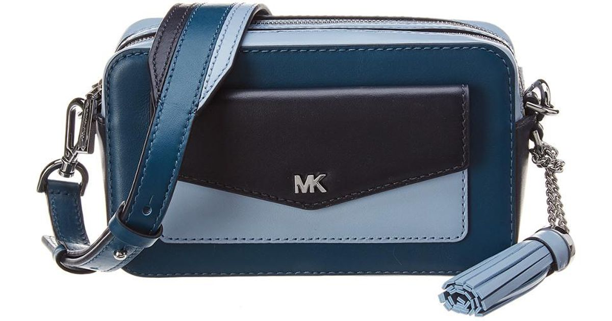 0da3ba18fe64 MICHAEL Michael Kors Whitney Pocket Small Leather Camera Bag in Blue - Lyst