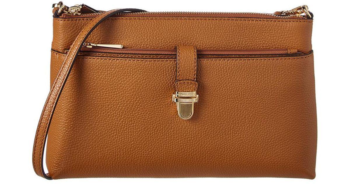 7121664b000c MICHAEL Michael Kors Mercer Large Leather Snap Pocket Crossbody in Brown -  Lyst