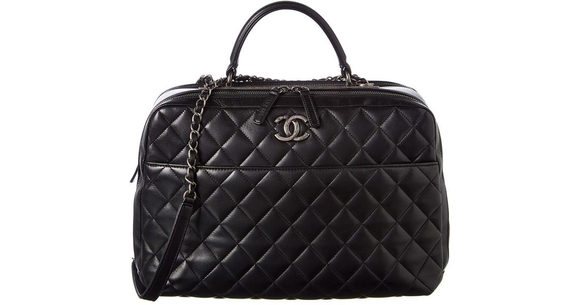 7a64f3a2c798 Lyst - Chanel Black Quilted Lambskin Leather Airline Bowler Bag in Black