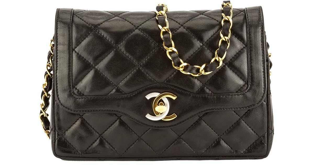 9d7df95991f0 Chanel Black Quilted Lambskin Paris Limited Edition Mini Double Flap Bag in  Black - Lyst