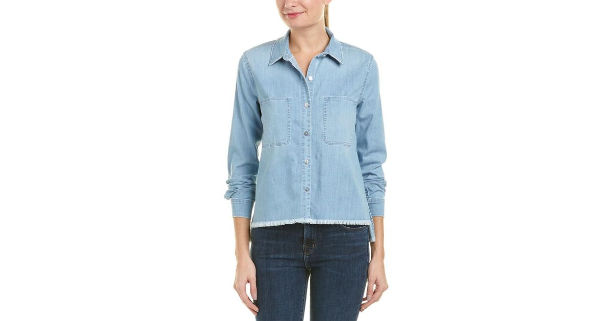 79166360717 Lyst - 7 For All Mankind 7 For All Mankind Step Hem Denim Shirt in Blue