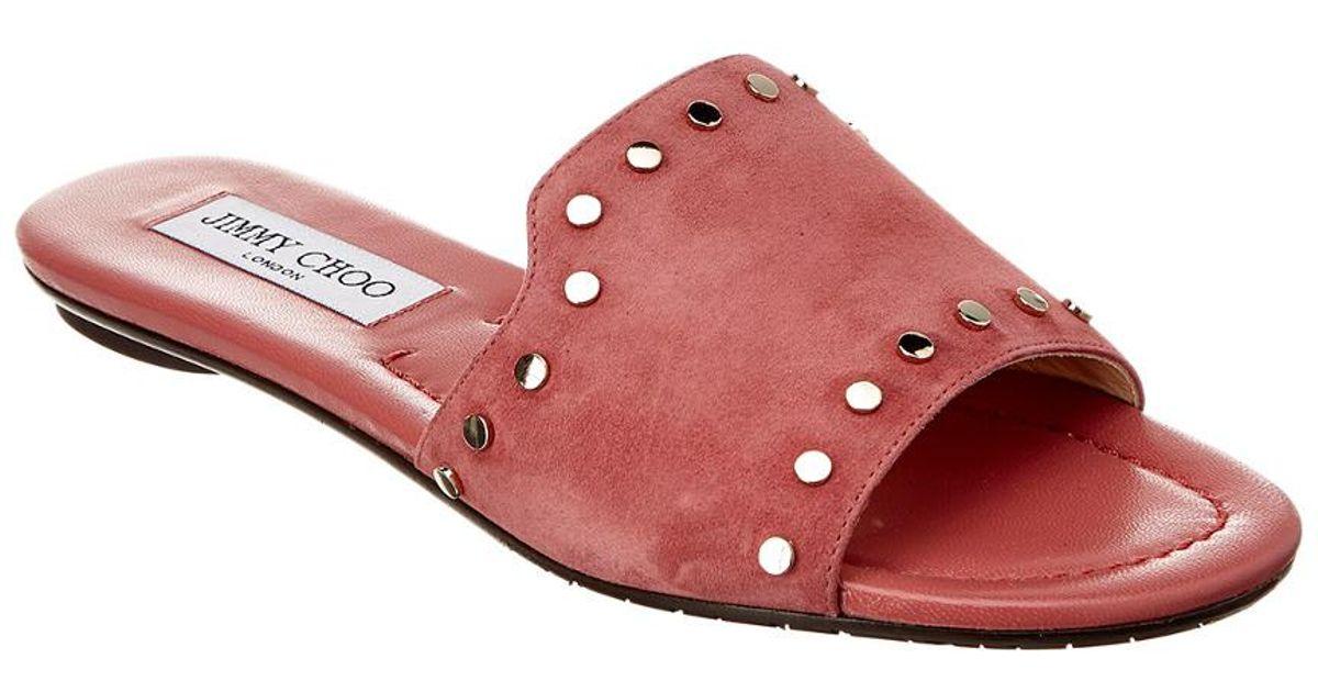 23b9acc42e51 Lyst - Jimmy Choo Nanda Studded Suede Slide in Pink
