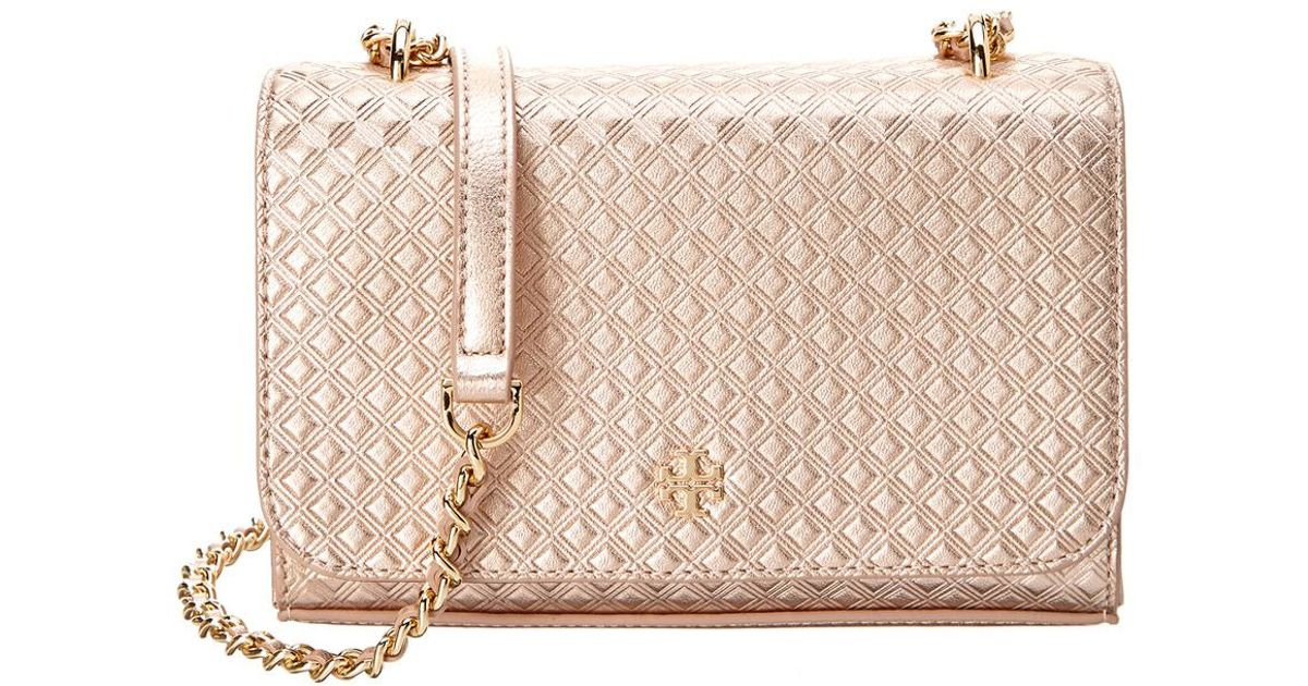 93f5a9a65275 Lyst - Tory Burch Marion Embossed Leather Metallic Crossbody in Metallic