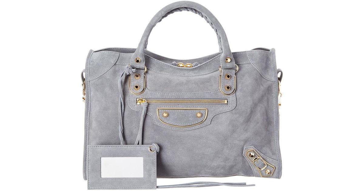 132dcea49b64 Lyst - Balenciaga Classic Metallic Edge City Medium Suede Shoulder Bag