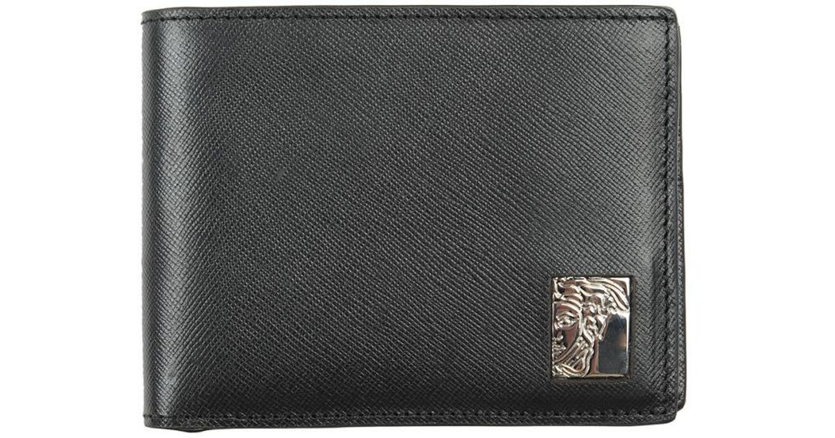 be7f5bdd9b Versace Versace Collection Medusa Bifold Saffiano Leather Wallet in Black  for Men - Lyst