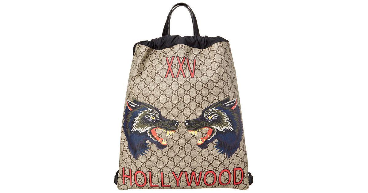 Lyst - Gucci Gg Supreme Hollywood Print Drawstring Backpack for Men 82ff5d2501