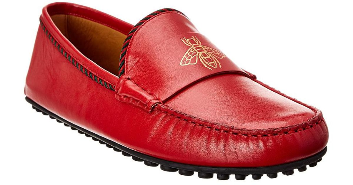 5fc27109854c Lyst - Gucci Bee Leather Driver in Red for Men