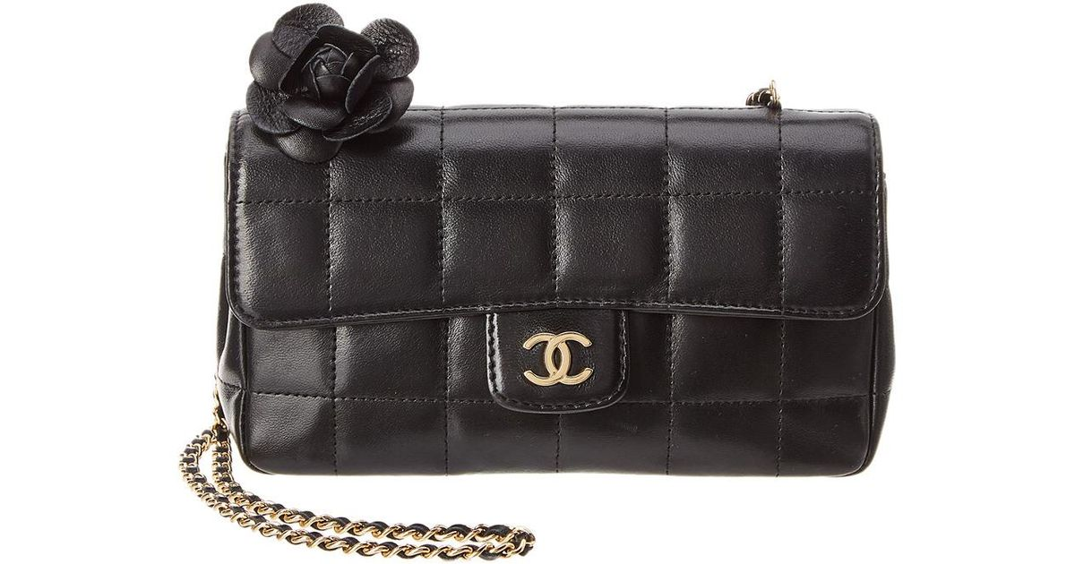 c2a28a989b9a Chanel Black Quilted Lambskin Leather Limited Edition Chocobar Mini